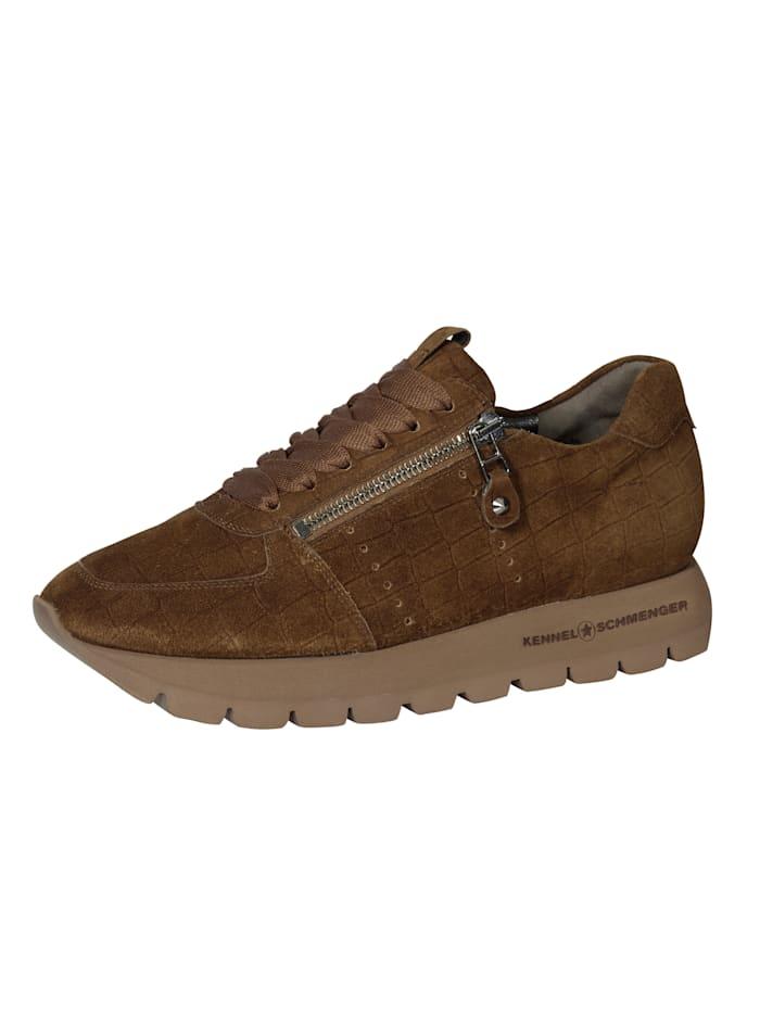 Kennel & Schmenger Sneakers à plateau en cuir velours imprimé, Marron