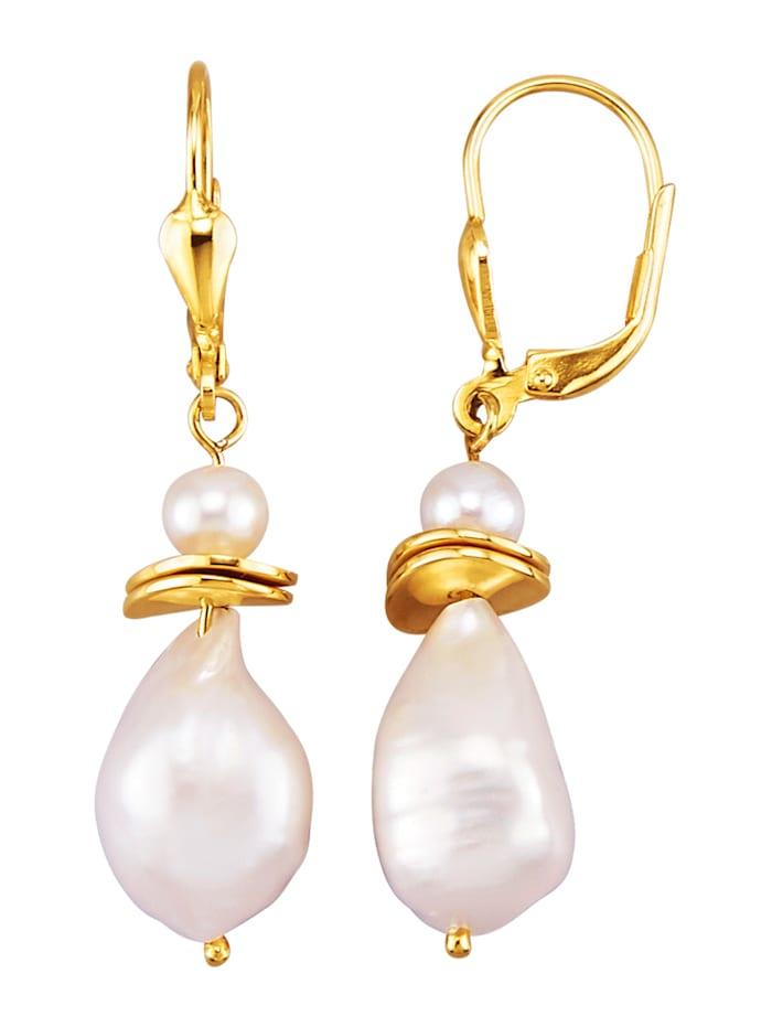 Boucles d'oreilles avec perles de culture d'eau douce et perles de Keshi, Blanc