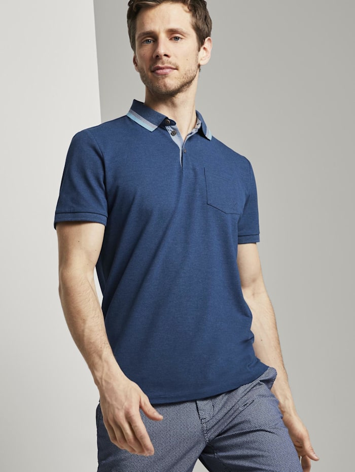 Tom Tailor Poloshirt mit Brusttasche, after dark blue white melange