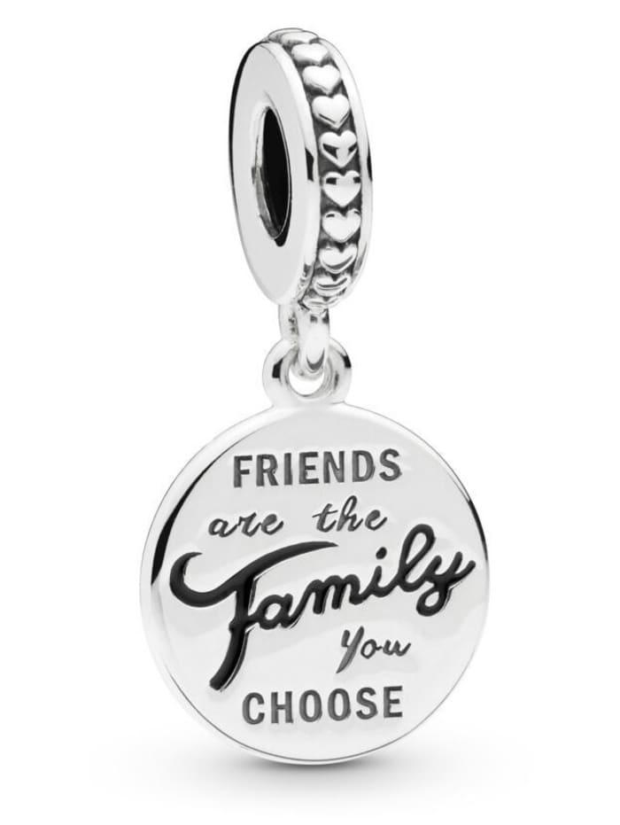Pandora Charm-Anhänger -friends are the family you choose- 798124EN16, Silberfarben