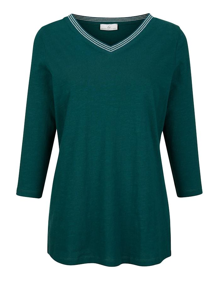 Shirt mit Glanzgarn am V-Ausschnitt