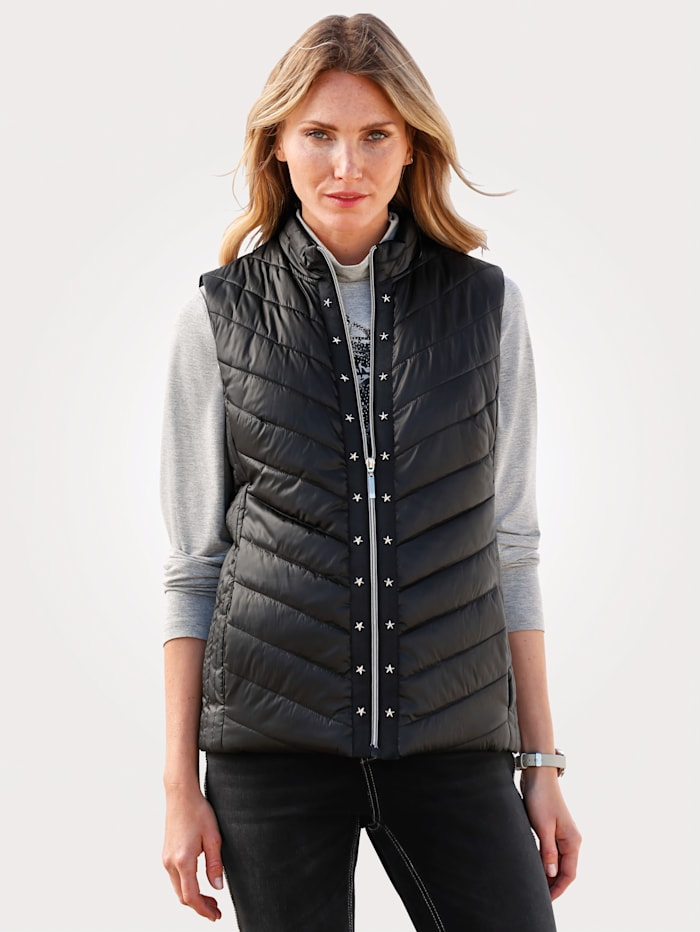MONA Gilet with a flattering quilted pattern, Black