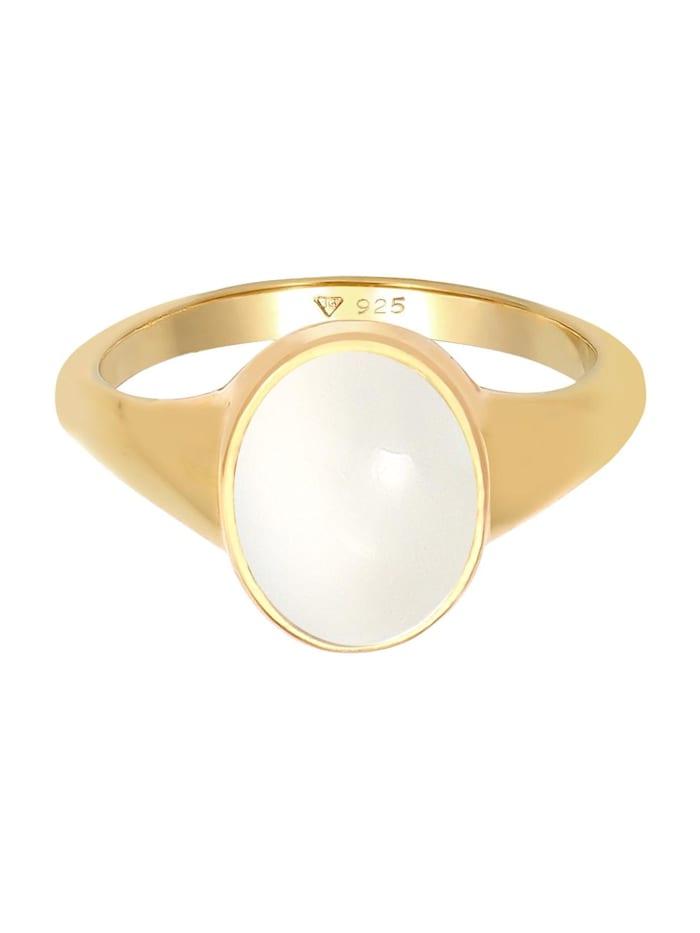 Ring Siegelring Mondstein Oval 925 Silber Vergoldet