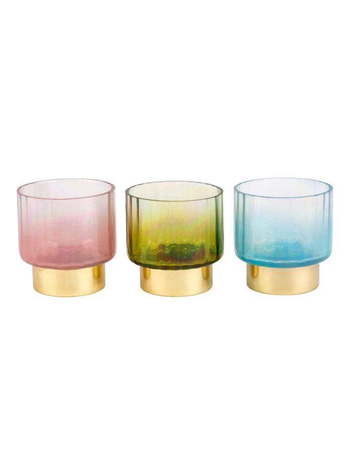 IMPRESSIONEN living Teelichthalter-Set, 3-tlg., rosé/türkis/blau