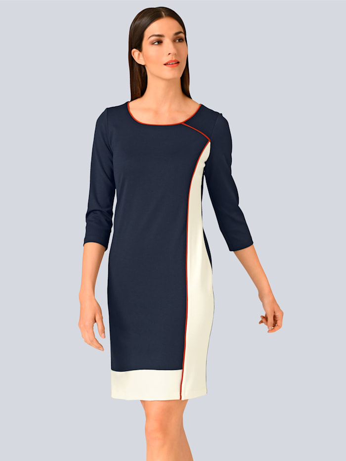 Alba Moda Kleid im Colour Blocking, Marineblau/Off-white/Rost