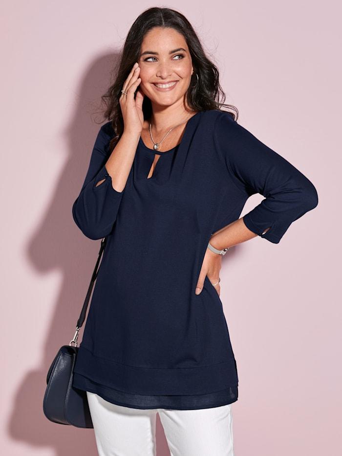 MIAMODA Shirt mit kleiner Aussparung am Ausschnitt, Marineblau