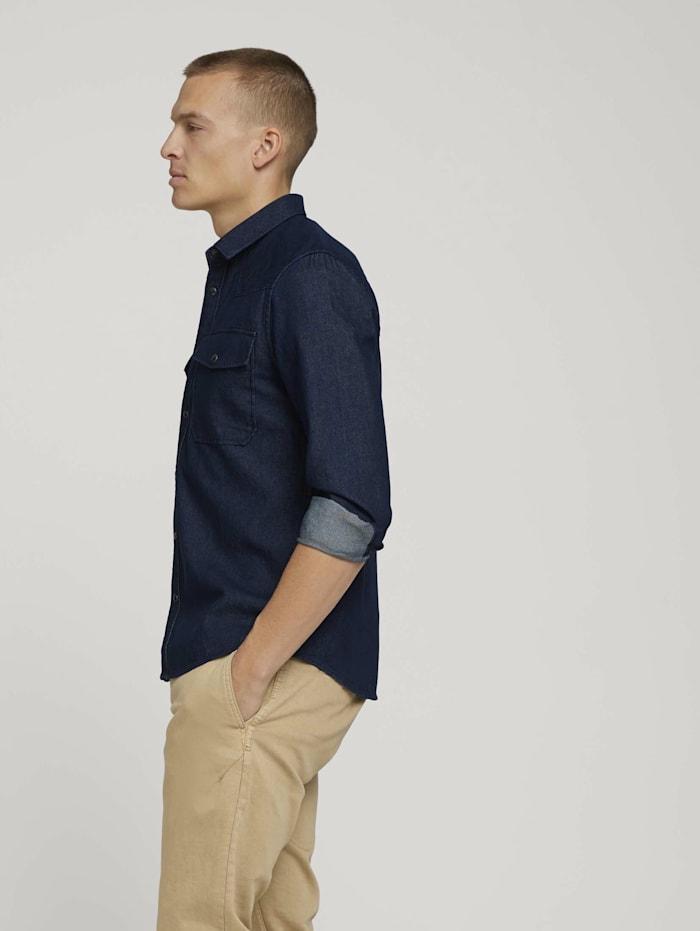 Tom Tailor Jeanshemd mit Brusttaschen, Clean Dark Stone Blue Denim