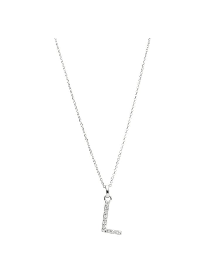 Smart Jewel Kette Buchstabe L mit Zirkonia Steine, Silber 925, Silber