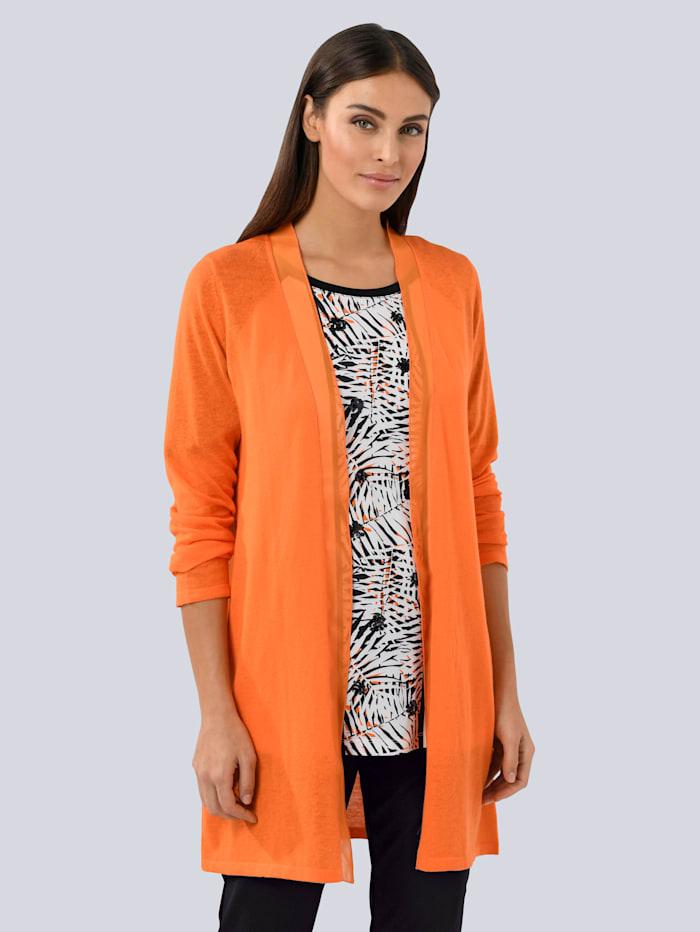 Alba Moda Strickjacke mit Chiffon Kante, Orange