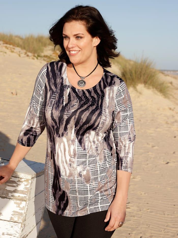 m. collection Shirt met trendy print, Taupe/Zwart/Wit
