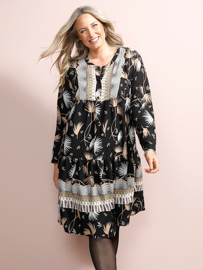 MIAMODA Kleid mit modischem Druck, Schwarz/Braun