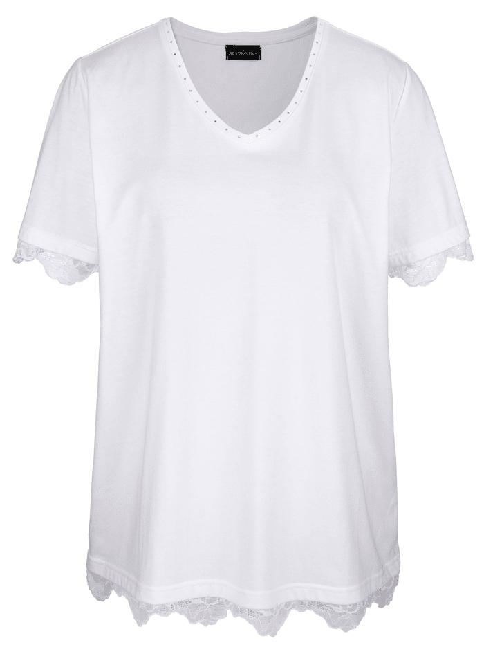 m. collection Shirt mit Spitze an Ärmeln und Saum, Weiß