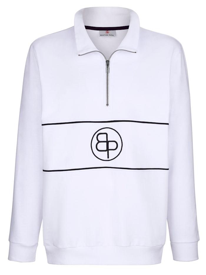 Boston Park Sweatshirt mit Stickerei im Vorderteil, Weiß