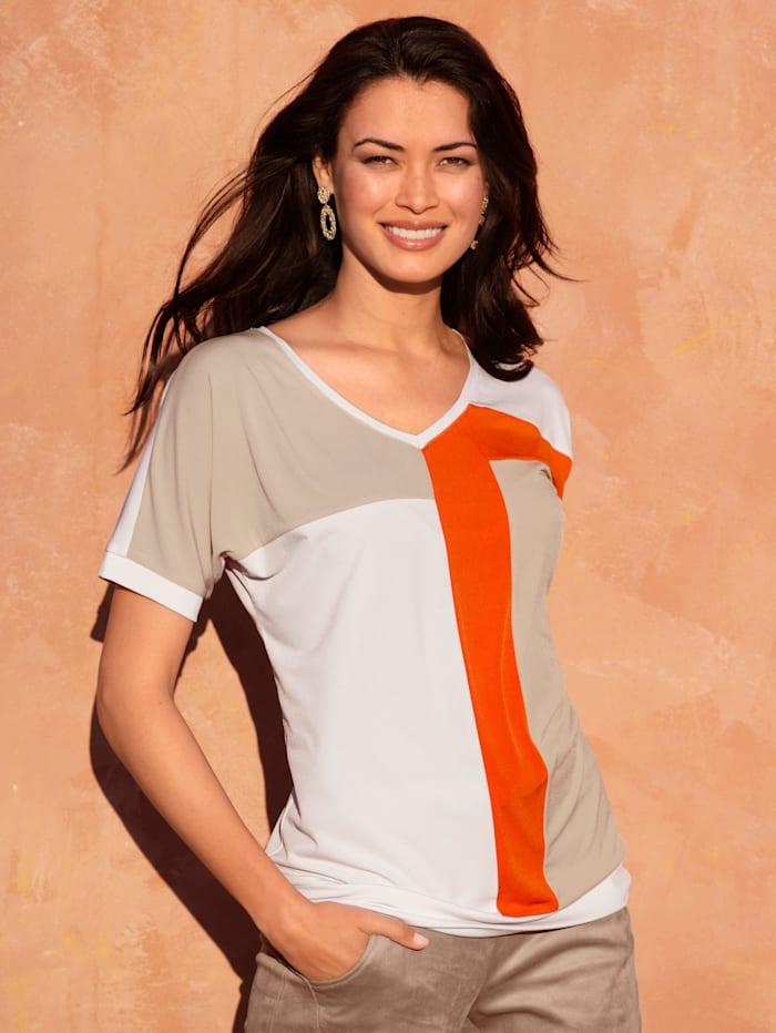 AMY VERMONT Shirt im Streifen-Dessin, Beige/Weiß/Orange