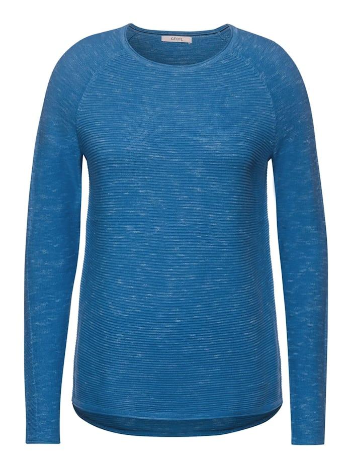 Cecil Ripp-Pullover in Melange, bright blue heater melange