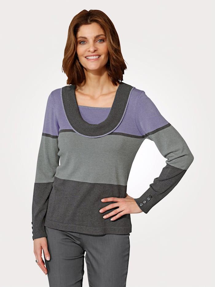MONA Pullover mit Umlegekragen, Lavendel/Grau
