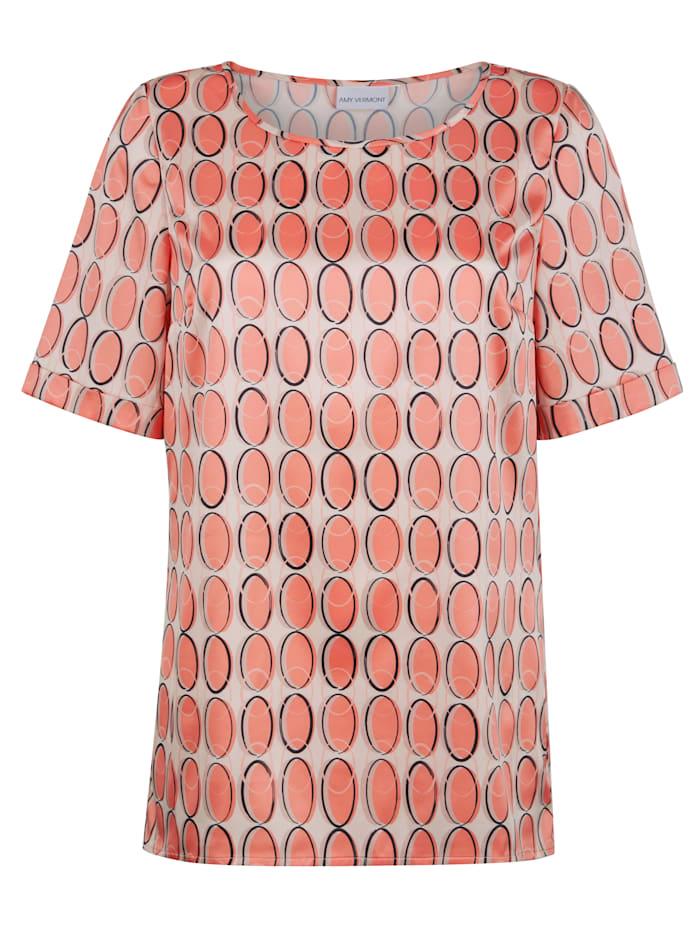 AMY VERMONT Bluse mit grafischem Muster, Beige/Orange