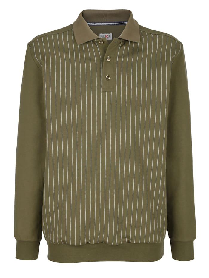 Roger Kent Sweatshirt med tryckt mönster fram, Olivgrön