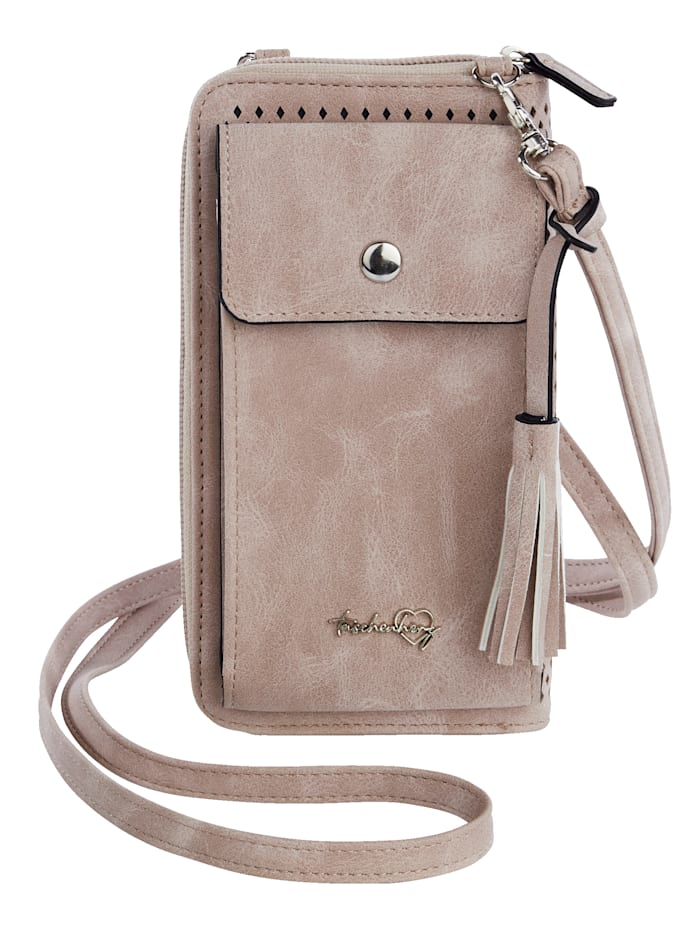 Taschenherz Phone bag with purse compartments, Dusky Pink