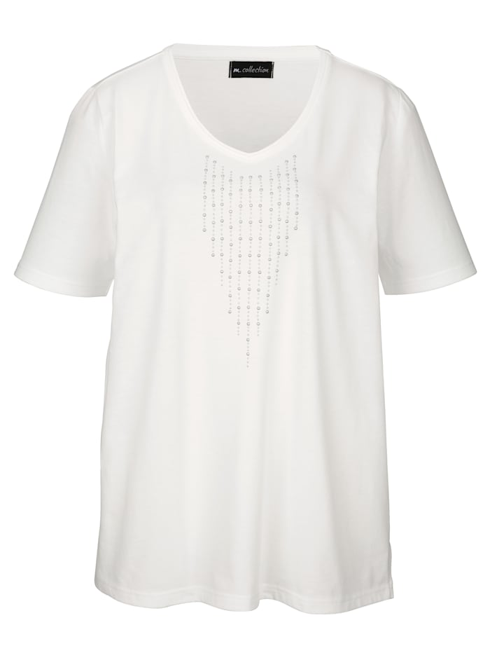 m. collection Topp med strass, Offwhite