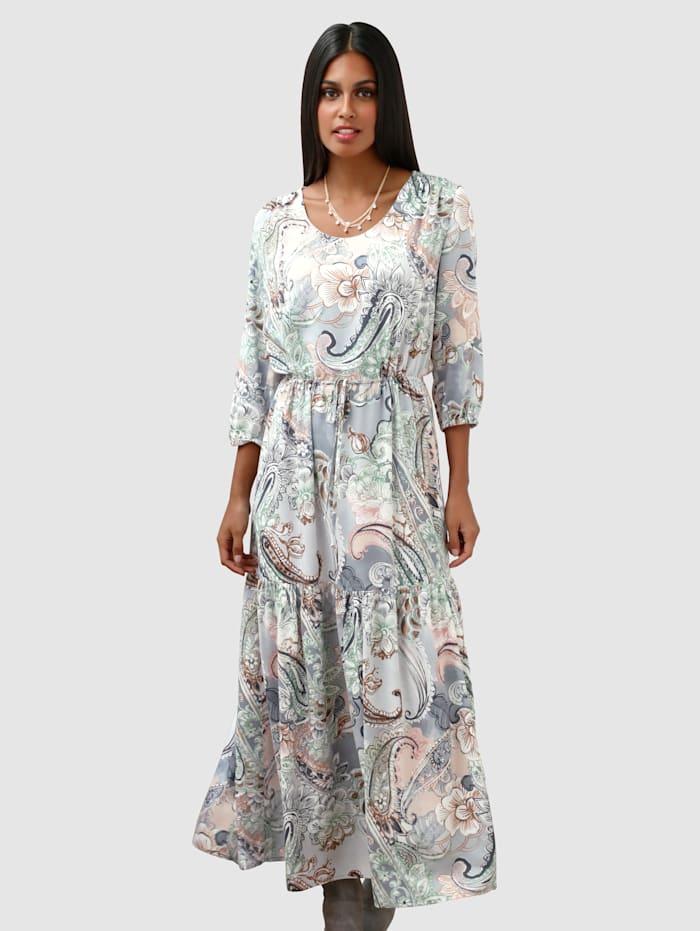 AMY VERMONT Kleid mit Paisley-Muster, Grau/Rosé/Grün