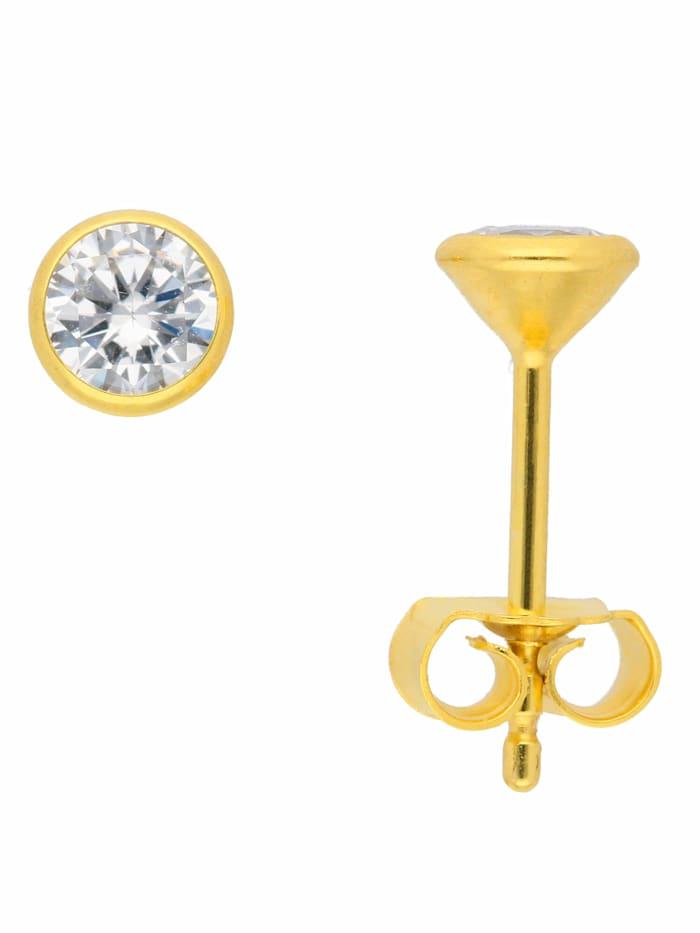 1001 Diamonds 1001 Diamonds Damen Goldschmuck 333 Weißgold Ohrringe / Ohrstecker mit Zirkonia Ø 4,5 mm, silber