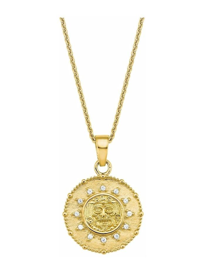amor Kette mit Anhänger für Damen, Sterling Silber 925, Zirkonia Motiv, Gold