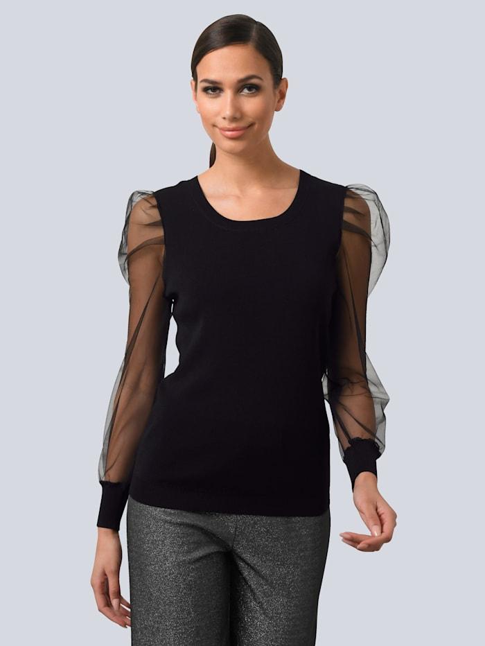 Alba Moda Pullover mit transparenten Tüll-Ärmeln, Schwarz
