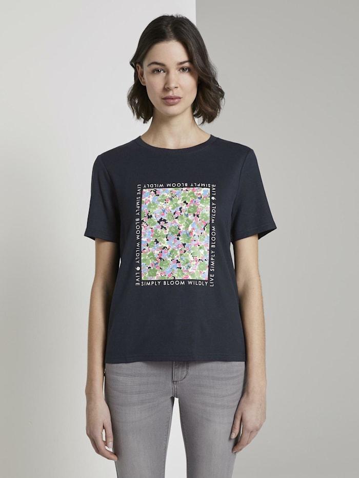 Tom Tailor T-Shirt mit Print aus Sommersweat, Sky Captain Blue