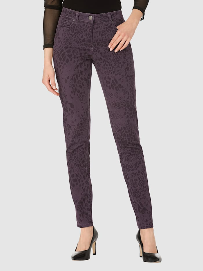 AMY VERMONT Jeans im allover Animalprint, Lila