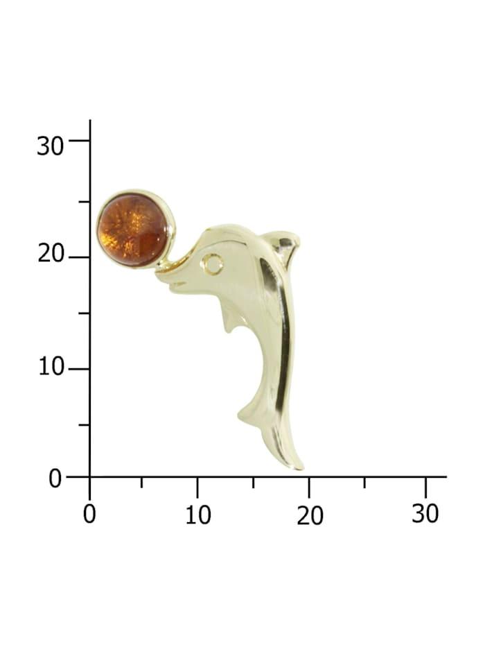 Anhänger - Gleiter-Delphin - Gold 333/000 - Bernstein