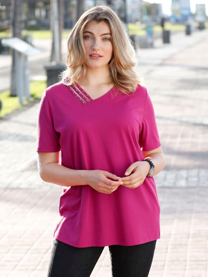 m. collection Shirt mit asymetrischem V-Ausschnitt, Pink