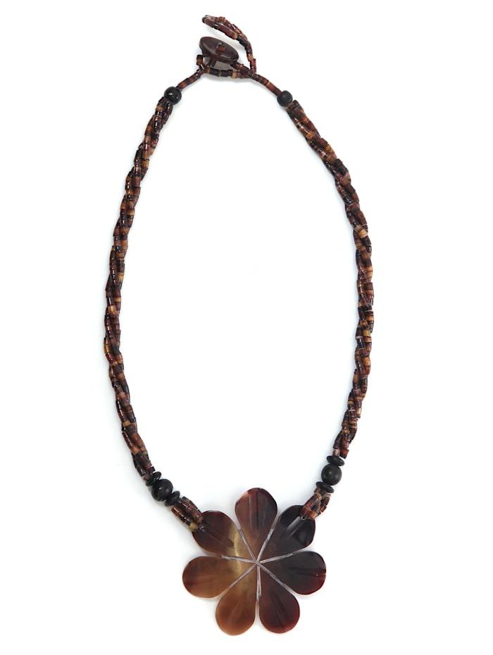Collezione Alessandro Kurze Kette Kaja mit echtem Muschel Anhänger in Blütenform, braun