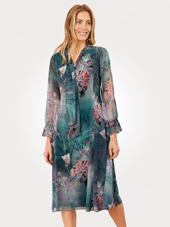 MONA Robe à motif floral, Pétrole/Rose