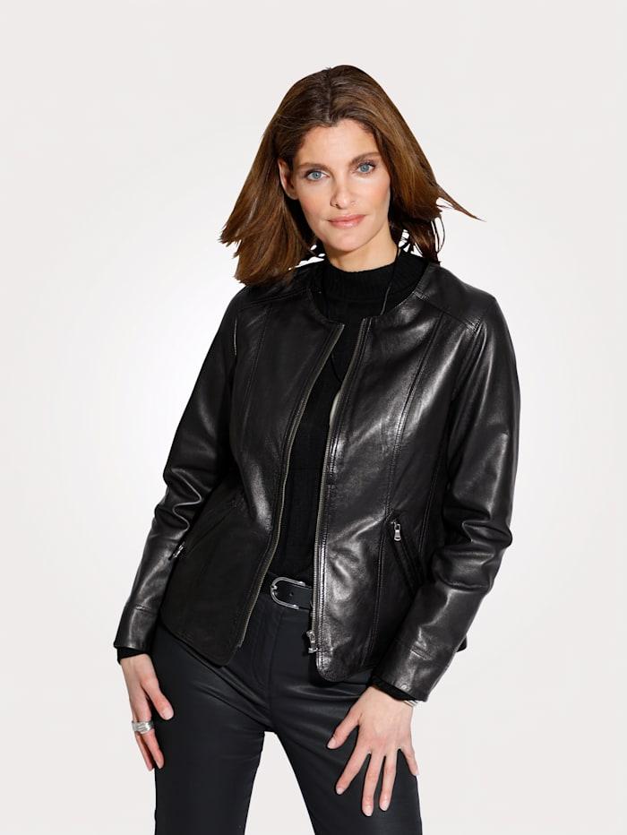 MONA Veste en cuir en véritable cuir nappa d'agneau, Noir