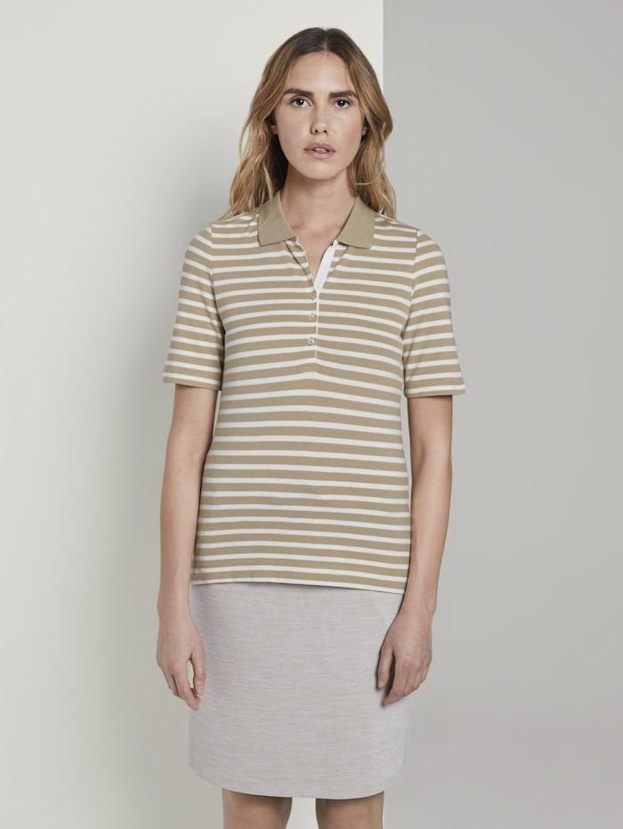 Tom Tailor Gestreiftes Poloshirt, beige offwhite stripe