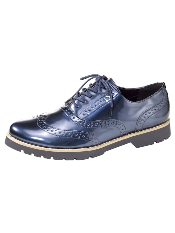 Fitters Footwear Veterschoen met decoratievebroguesgaatjes, Marine