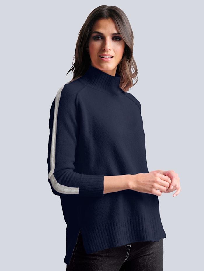 Alba Moda Pullover mit hochwertigem weichem Alpakaanteil, Marineblau