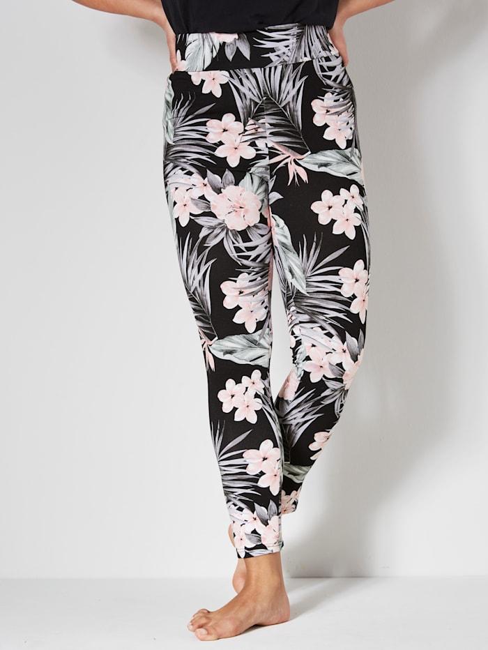 Janet & Joyce Leggings med blommigt mönster, Svart/Gammalrosa