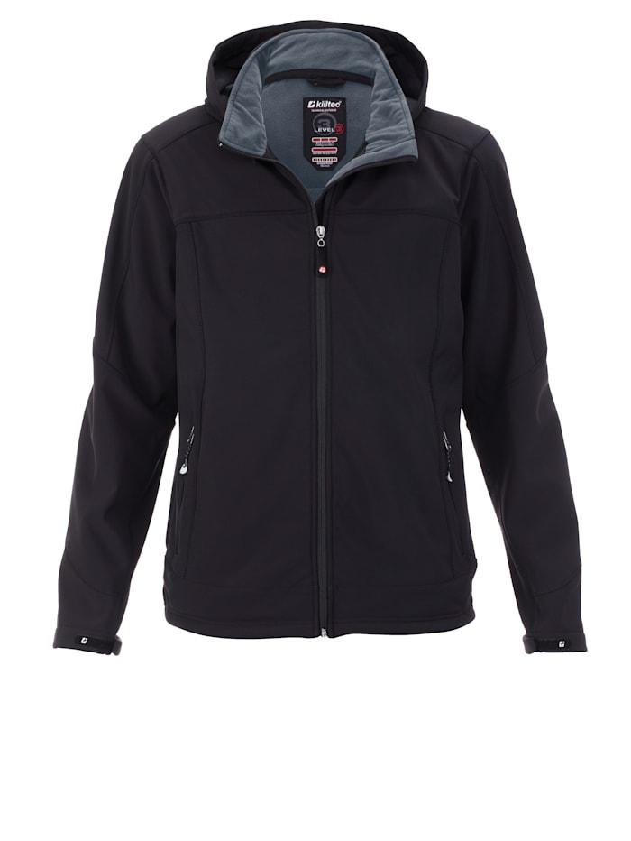 Killtec Softshell jas van ademend, winddicht en waterafstotend materiaal, Zwart
