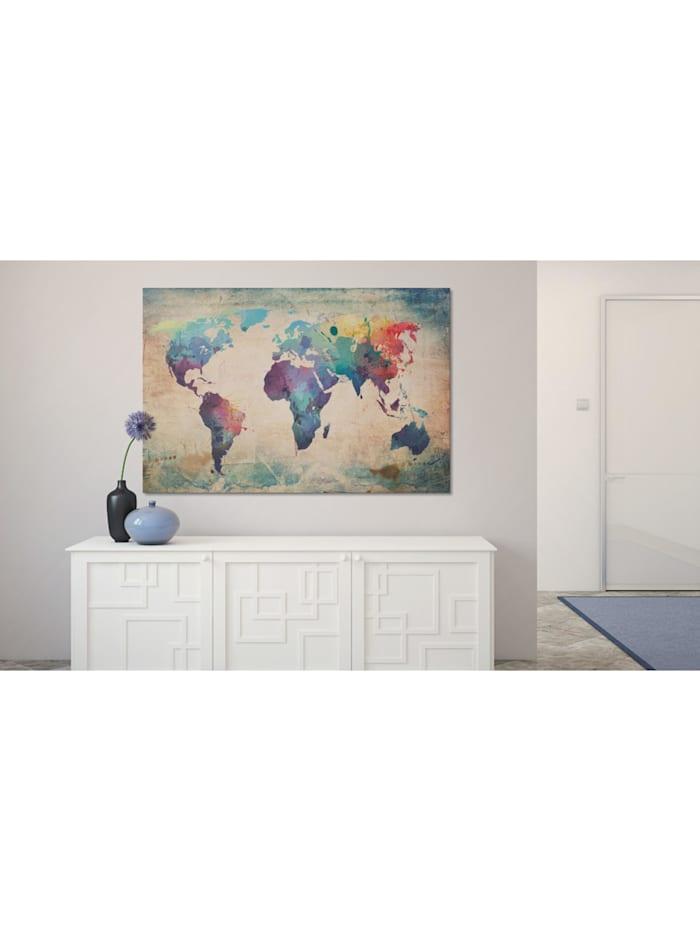 Wandbild Regenbogen-Weltkarte