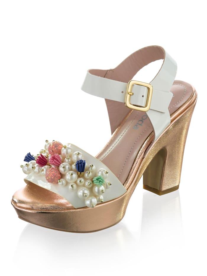 Alba Moda Sandalette mit üppig besetztem Riemen, Weiß/Rosé