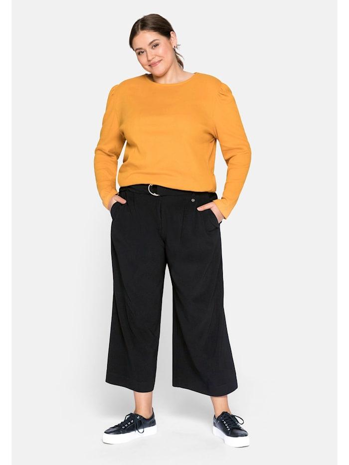 Sheego Culotte mit angeschnittenem Bund, schwarz