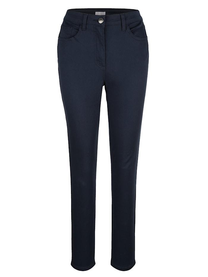 MONA Pantalon en matière extensible confortable, Marine
