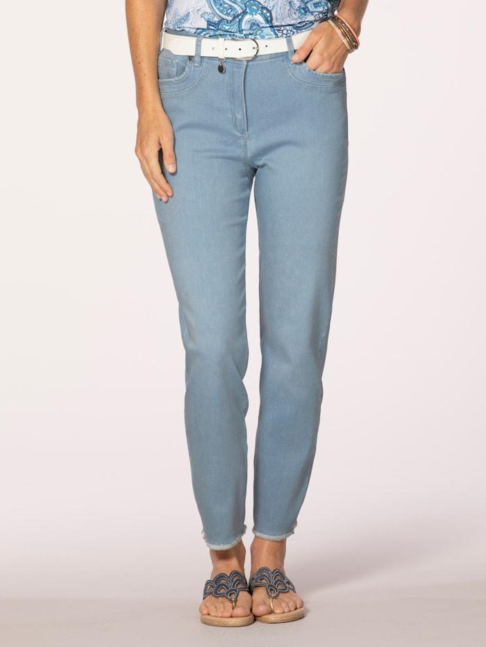 MONA Jeans med trendiga fransar, Ljusblå
