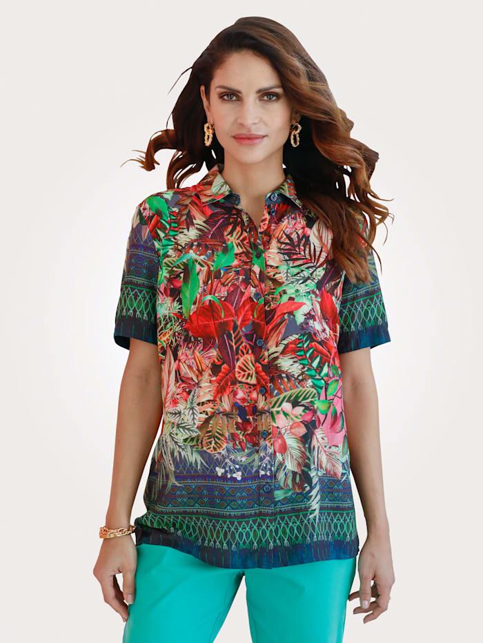 MONA Bluse mit floralem Druck, Rot/Grün/Blau