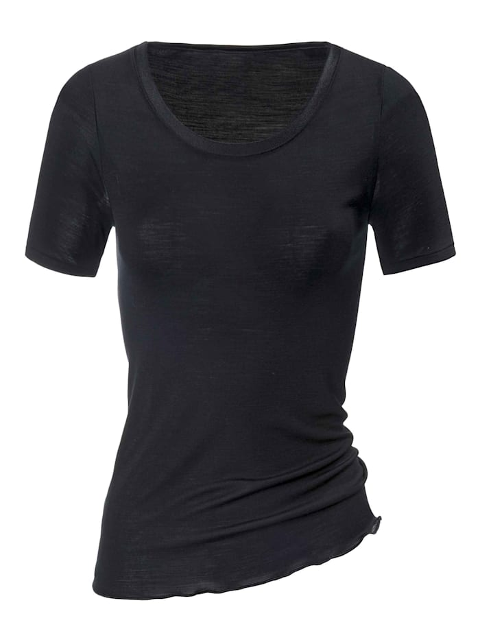 Calida Kurzarm-Shirt aus Wolle-Seide Ökotex zertifiziert, black