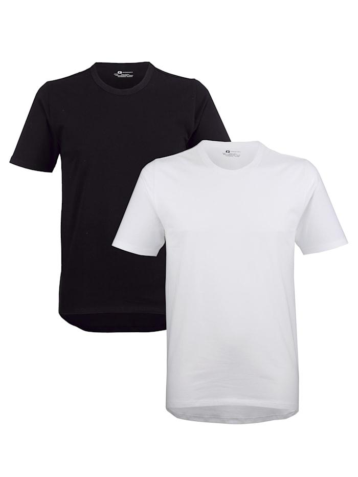 G Gregory Cityshirt aus PIMA Cotton mit Halbarm 2er Pack, 1x schwarz, 1x weiß