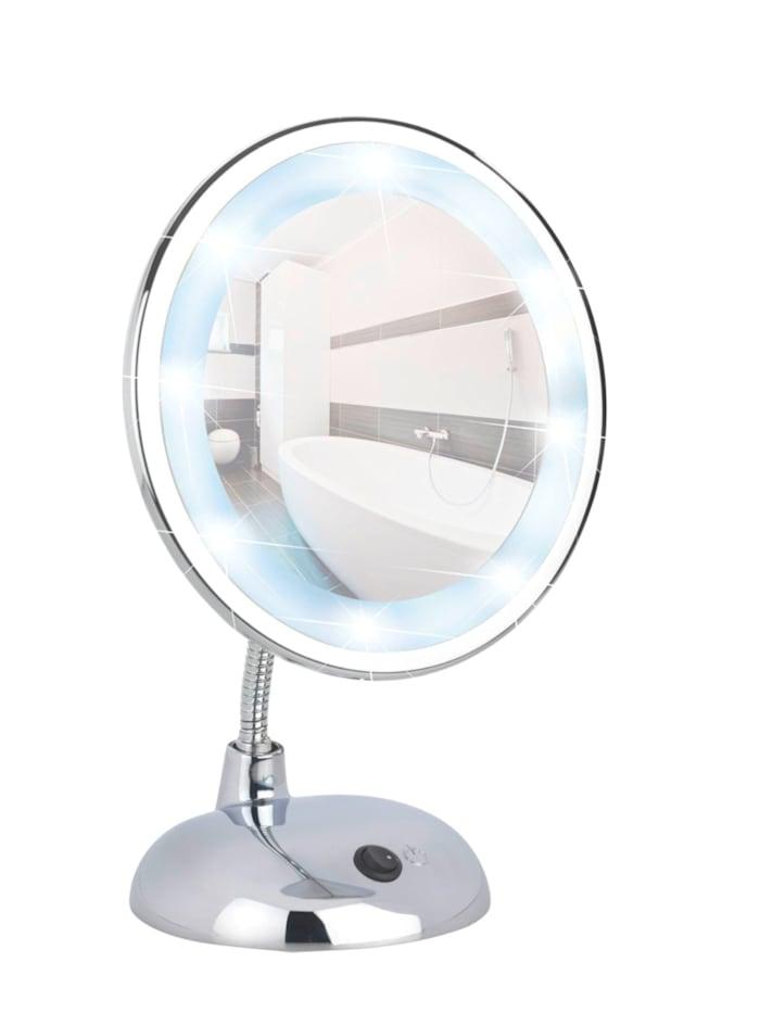 Wenko LED Kosmetikspiegel Style Chrom, Standspiegel, 3-fach Vergrößerung, Chrom