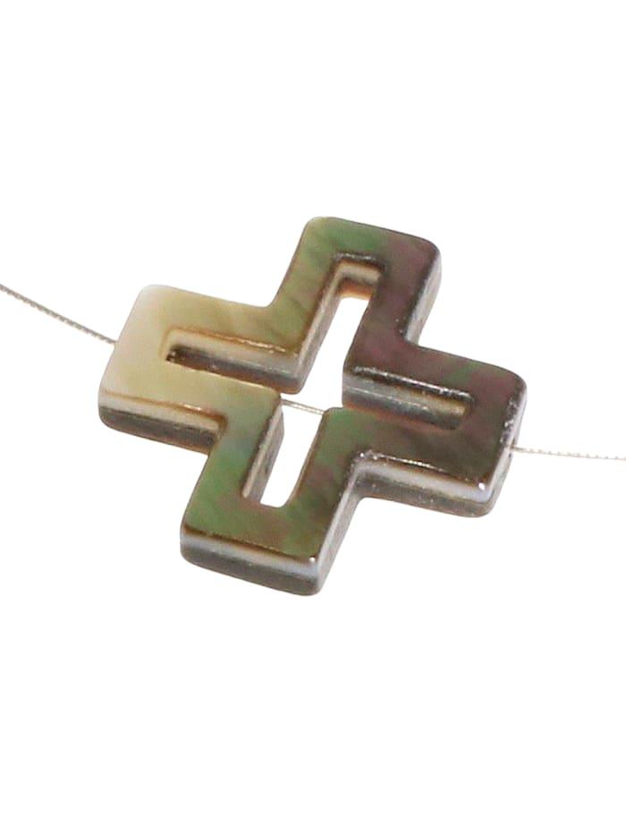 1001 Diamonds Kreuz Perlmutt Anhänger, grau